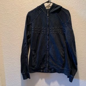 Affliction black distressed/worn studded hoodie, M
